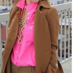 J.Crew S 4 Neon Pink Blouse Silk Surplus Top